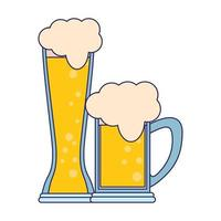 glasses of beer icon cartoon isolated blue lines vector