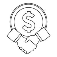 big coin and hand shaking in black and white vector