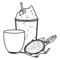 tropical fruit and smoothie drink in black and white vector
