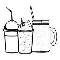 tropical smoothie drink icon cartoon in black and white vector