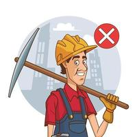 Trabajador de la construcción con pico sin usar mascarilla para covid19 vector