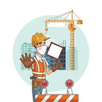 construction worker with sign using face mask for covid19 vector