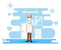 male doctor wearing medical mask vector