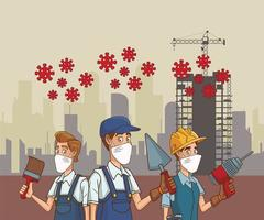grupo de trabajadores de la construcción que usan máscaras faciales para covid19 vector