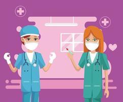 female doctors wearing medical masks vector