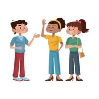 icono de personajes de avatares de personas interraciales vector