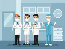 male doctors wearing medical masks vector