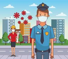 mujer arquitecto y policía con máscaras faciales vector