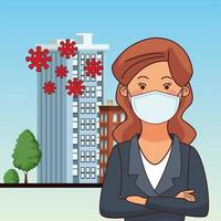 mujer de negocios, utilizar, mascarilla facial vector
