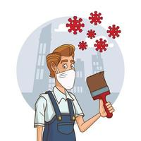 consttuction worker with paintbrush using face mask for covid19 vector