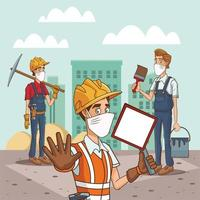 group of construction workers using face masks for covid19 vector
