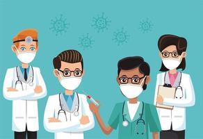 group of doctors wearing medical masks vector