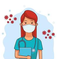 female doctor using face mask vector