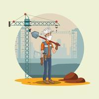 Trabajador de la construcción con pala usando mascarilla para covid19 vector