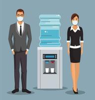pareja de negocios trabajando y usando máscaras médicas vector