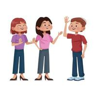 young people avatars characters icon vector