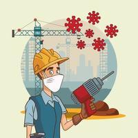 trabajador de la construcción con taladro usando mascarilla para covid19 vector