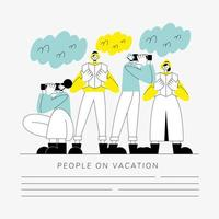 grupo de personas en plantilla de banner de vacaciones vector