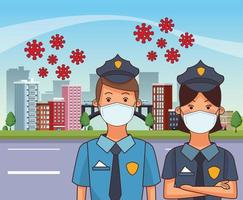 police officers using face masks