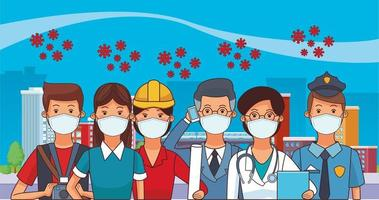 group of workers using face masks for covid19 vector