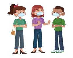 jóvenes interraciales usando máscaras médicas vector