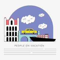 travel vacation cityscape scene banner template vector