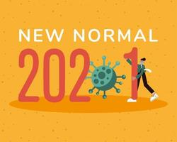 2021 new normal banner with man wearing medical mask vector