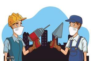 trabajadores de la construcción que usan máscaras faciales para covid19 vector