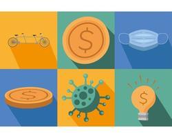 conjunto de iconos de pandemia de coronavirus vector