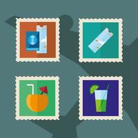 Vacation stamps icon set vector