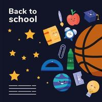 back to school lettering poster template vector