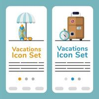 Vacation banner template set vector