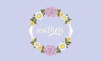 happy mothers day card with floral circular frame vector