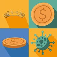 Coronavirus pandemic icon set vector