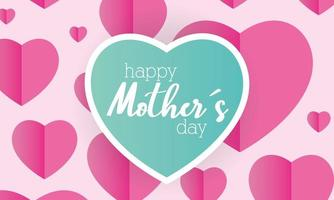 happy mothers day card with heart pattern vector