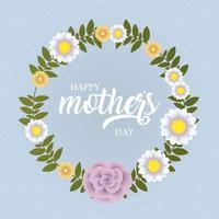 tarjeta del día de la madre feliz con marco circular floral vector