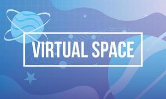 virtual space scene technology banner vector