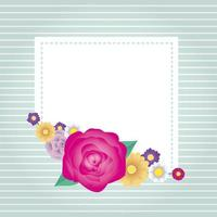 floral decorative card template with square frame vector