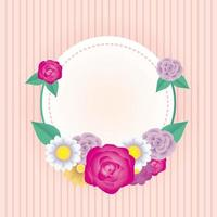 floral decorative card template with circle frame vector