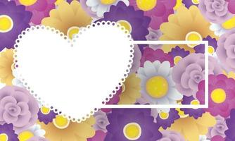 floral decorative card template with square and heart frame vector