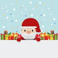 santa claus with gift box background vector