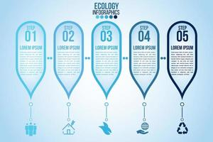 Infographic eco water blue design elements process 4 steps