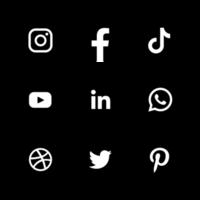 logotipo de redes sociales en color blanco y negro vector
