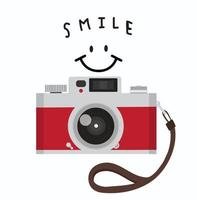 red vintage camera strap with stylish lettering - smile vector