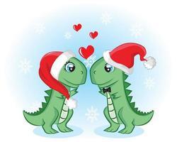 Holiday couple dino with love and Santa hats. Hand drawn seasonal card vector
