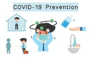 prevención del coronavirus covid-19 infografía con espacio de copia