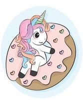 illustrator of Unicorn cartoon with donut vector