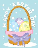 Easter poster and banner template with Easter eggs. Greetings and presents for Easter Day in flat lay styling.Promotion and shopping template for Easter vector