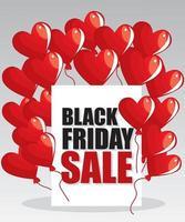 Black friday super sale, Love Balloons background. Vector illustration.