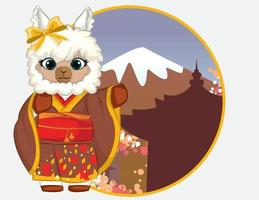 Cute llama fall illustration with kimono dress and mount fuji vector